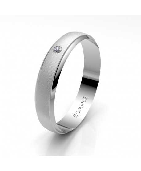 Alianza Diamante de Oro Blanco 4mm