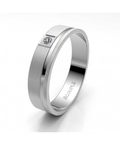 Alianza Diamante de Oro 18K Blanco 4,5mm