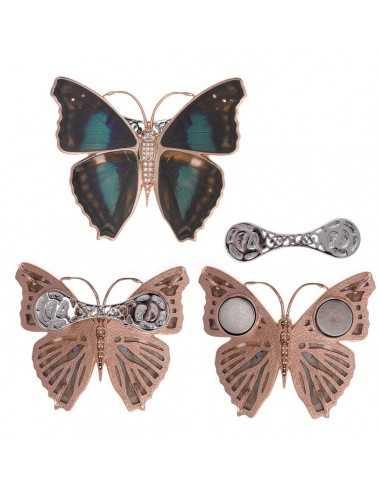 Broche metal chapado rosa mariposa...